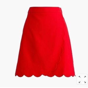 J. Crew Red Scalloped A-line Mini Skirt NWT size 0